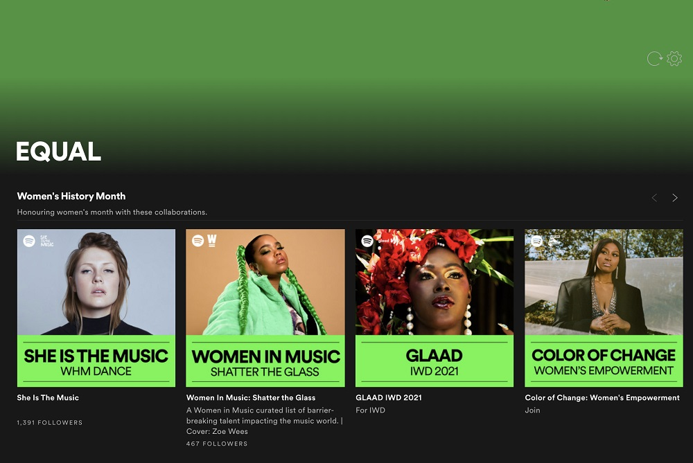 Spotify anuncia EQUAL, su compromiso global y permanente con las artistas femeninas