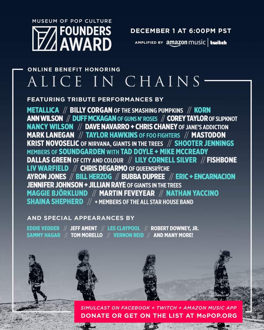 Alice in Chains recibirán un gran homenaje con un concierto online